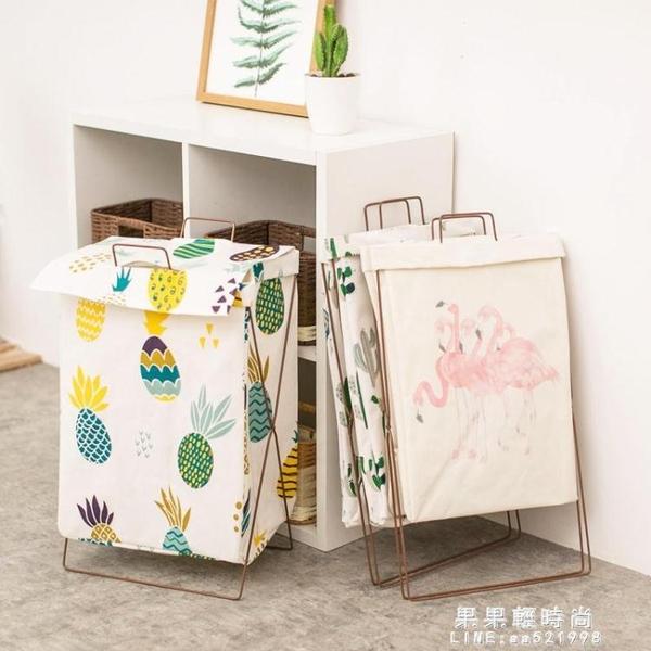 北歐簡約家用棉麻髒衣服收納筐可摺疊支架防水超大髒衣籃簍儲物箱【果果新品】