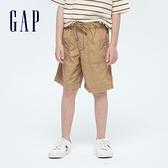 Gap男童 工裝風繫帶透氣短褲 702071-卡其色