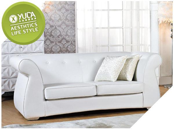 沙發【YUDA】Winter Witese 高雅 簡約新古典 純白 雙人 高級 皮沙發 J5S561-2