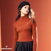 【SHOWCASE】個性胸前斜拉鍊彈性合身針織上衣(棕/黑/白)