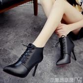 細跟短靴秋冬季新款短靴歐美系帶女式細跟高跟鞋子女士尖頭馬丁靴 聖誕交換禮物