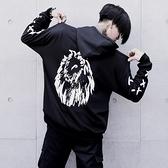 長袖T恤-連帽酷炫獅子印花時尚男上衣73pr20[巴黎精品]