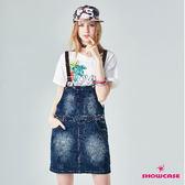 【SHOWCASE】率性皮帶深色刷白牛仔吊帶裙(藍)