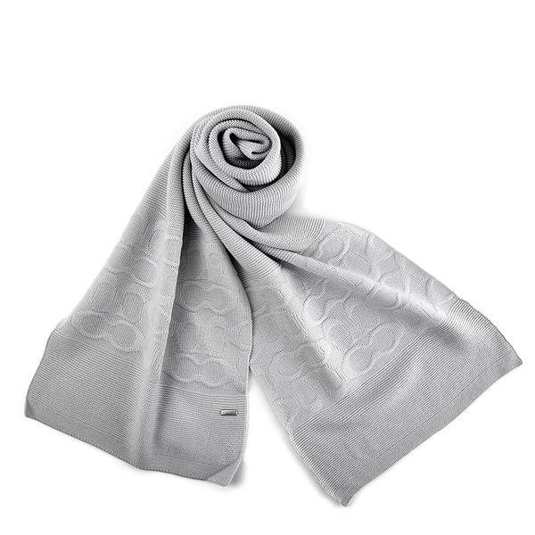 美國正品 COACH 針織感浮雕LOGO羊毛圍巾-淺灰色【現貨】
