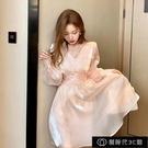 法式小眾洋裝春夏季新款2021氣質超仙女感收腰顯瘦網紗裙子【全館免運】