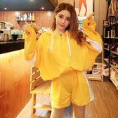 2018秋裝新款韓版甜美拼色寬松連帽長袖衛衣 高腰闊腿短褲套裝女