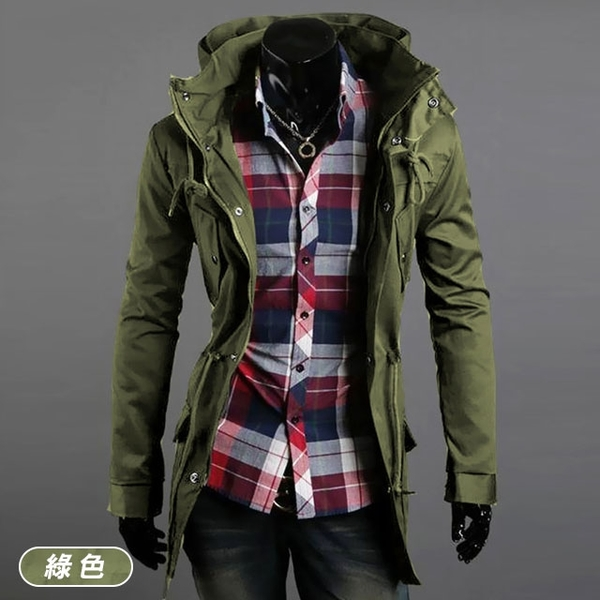 Free Shop 大立領設計 腰部抽繩軍裝外套 雙層高領設計修身男外套 風衣外套 短大衣外套【QTJBYJK23】