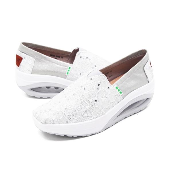 W&M (女) BOUNCE系列蕾絲彈力厚底增高鞋 女鞋 - 白(另有藍.粉)