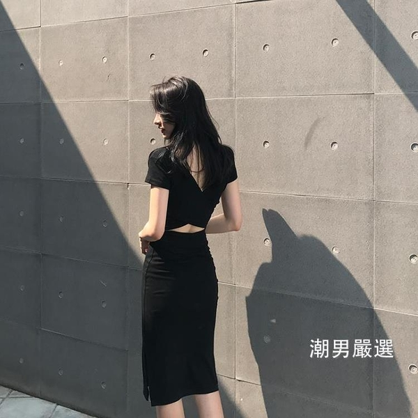 洋裝2018新品夏季chic小性感交叉露背裙中長版開叉氣質修身連身裙