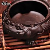 優惠兩天-蓋煙灰缸擺件茶玩茶寵創意復古金蟾紫砂煙碟