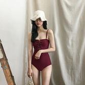 韓國溫泉沙灘度假比基尼連體泳衣女性感綁帶顯瘦遮肚肩帶小胸泳裝 全館免運