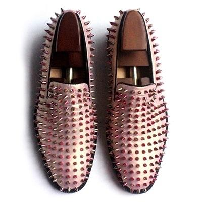 真皮皮鞋-鉚釘套腳歐美時尚個性龐克風男休閒鞋73kv32[巴黎精品]