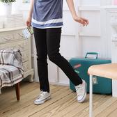 長褲--類正式隱藏版-鬆緊帶側邊車線前縫長褲/鉛筆褲(黑M-3L)-P27眼圈熊中大尺碼