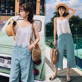 【韓國K.W.】(預購)  M~L  純色盛夏亞麻吊帶衫七分褲套裝