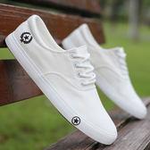 男鞋夏季小白鞋子男士休閒鞋學生低筒布鞋牛筋底潮鞋白色帆布鞋男   時尚芭莎鞋櫃