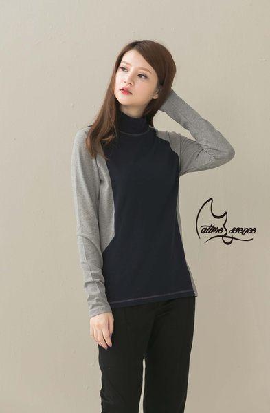 NATURE & ESSENCE純粹本質C005WNY 氣質藍 苗條曲線對色拼接﹋彈性棉長袖上衣