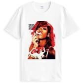 Rihanna Strawberry蕾哈娜短袖T恤-白色 人物 相片 R&B Hip Hop Pop Dance