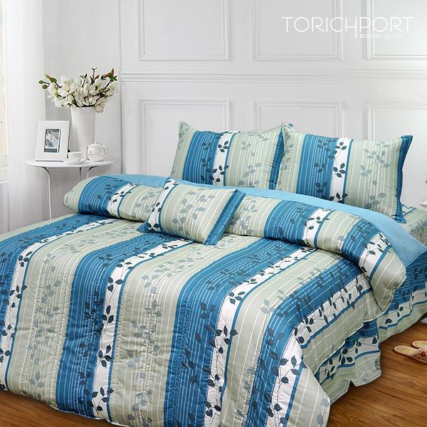 【Victoria】台灣製 純棉單人四件式全套床罩組-飄花藍_TRP多利寶