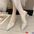 【伊人閣】穆勒鞋 尖頭 半拖鞋 粗跟 包...