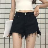 春裝女裝新款正韓時尚毛邊牛仔短褲高腰顯瘦百搭闊腿褲學生熱褲潮