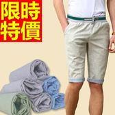 休閒褲-天然亞麻有型韓版男五分褲3色54n85[巴黎精品]