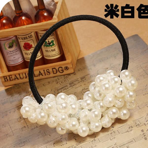 【限量10組 賠本下殺】韓國 日韓 韓流 韓版 髮飾 手工 編織 串珠 黑色 白色 小珍珠 髮圈 髮束