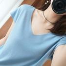 冰絲上衣 夏季v領針織衫短袖女冰絲上衣潮寬鬆女裝女士薄款t恤-Ballet朵朵