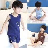 兒童睡衣男童家居服夏季中大童短袖純棉薄款空調服小男孩背心套裝 格蘭小舖
