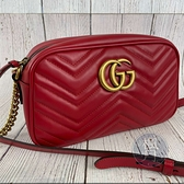 BRAND楓月 GUCCI古馳 447632 紅色 經典 MARMONT GG LOGO相機包 肩背包 側背包
