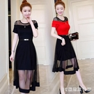 連身裙女夏季洋裝2020新款氣質顯瘦中長款大碼網紗蕾絲裙超仙仙女裙 LR20297『3C環球數位館』
