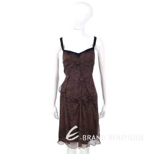 PHILOSOPHY-AF 咖啡色抓結造型設計細肩帶洋裝 0510435-07