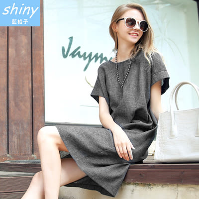 【V1552】shiny藍格子-歐美時尚‧修身圓領寬鬆棉麻短袖連身裙