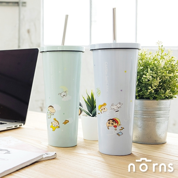 蠟筆小新不鏽鋼吸管杯- Norns 正版授權 800ml飲料保溫杯 保冰隨行杯 冰霸杯