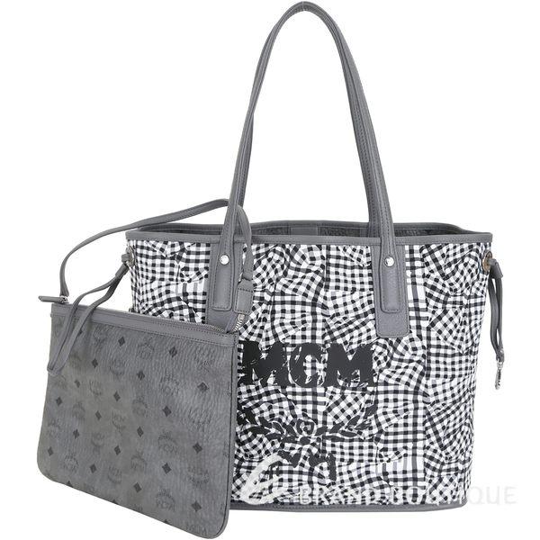 MCM Liz Visetos 中款 品牌塗層附萬用包雙面用購物包(灰色) 1840532-06