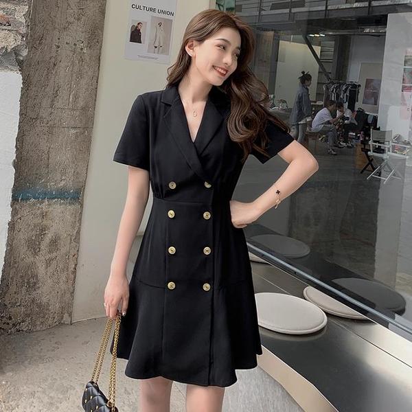 小洋裝 連身裙好質量雙排扣西裝連身裙氣質顯瘦夏赫本風復古收腰裙FFA027韓衣裳