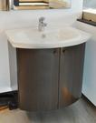 【麗室衛浴】一體陶瓷面盆70cm+鐵刀木紋防潮板浴櫃(門市樣品出清)