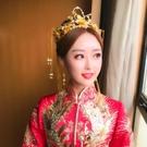 限定款中式新娘造型頭飾金色秀禾服古裝頭飾龍鳳褂鳳冠流蘇步搖婚禮結婚配飾