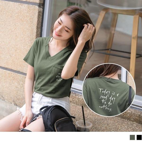 《AB10117》台灣製造 . 高含棉英文字燙印造型口袋V領T桖 OrangeBear
