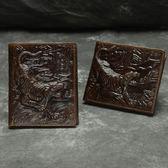 油蠟皮皮夾(短夾)-立體龍紋壓花復古男錢包2色73qs47[時尚巴黎]