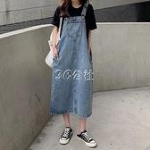 夏季新款韓版chic復古牛仔寬鬆背帶裙女學生百搭時尚連身裙快速出貨