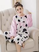 韓版珊瑚絨睡裙女秋冬季中長款加絨法蘭絨睡衣女冬天可愛加厚保暖   蘑菇街小屋