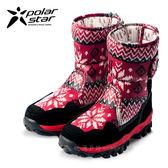 PolarStar 兒童 保暖雪鞋│雪靴│冰爪『星光紅』 P16631 (內厚鋪毛/ 防滑鞋底) 雪地靴.非UGG靴