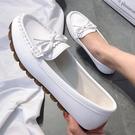 豆豆鞋女百搭2021新款平底單鞋軟底一腳蹬孕婦舒適媽媽護士工作夏 【端午節特惠】