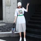 T恤.工廠直銷不退換~實拍1901夏季韓版女裝網紗印花套裝裙仙女氣質兩件套連身裙