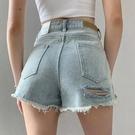 休閒短褲 牛仔短褲女ins復古毛邊褲子泫雅同款顯瘦寬管高腰a字熱褲 格蘭小鋪