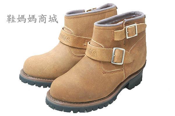 【鞋媽媽】[女]KIT棕色麂皮短靴*二扣帶*直接穿脫*防滑防潑水*ae227