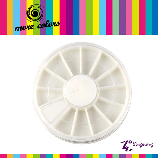 【More Colors】A0011 鑽飾 貼飾 小飾品 圓盤 轉盤 收納盒 白色空盒 (形向Xingxiang彩繪 貼紙 亮片)