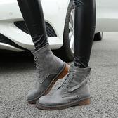 秋冬馬丁靴 英倫系帶短筒粗跟平底靴子《小師妹》sm836