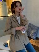 女裝秋季新款韓版復古港味法式小西裝寬鬆英倫風休閒外 花樣年華
