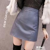 年新款秋季黑色小皮裙高腰a字pu皮半身裙女秋冬時尚包臀短裙 韓美e站